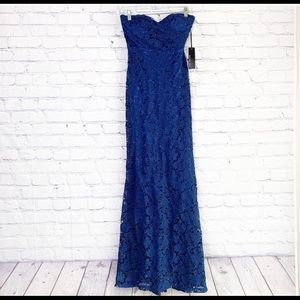Lulu's Navy Blue Lace Strapless Gown Size 2